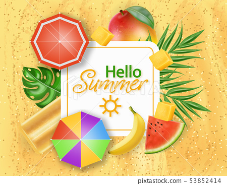 Hello summer card with ice cream, umbrellas and 53852414