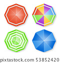 Umbrellas isolated Vector top view. colorful flat 53852420
