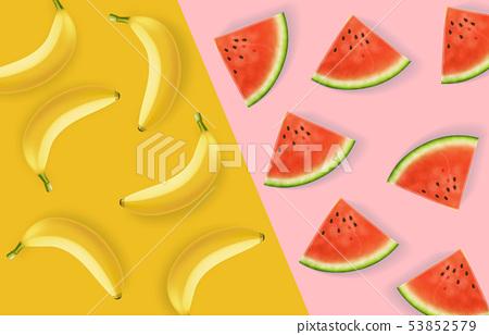 Banana and watermelon abstract pattern Vector 53852579