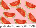 Watermelon slices Vector realistic. Summer tropic 53852594