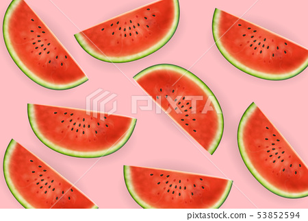 Watermelon slices Vector realistic. Summer tropic 53852594