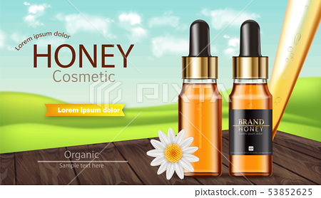 Honey serum bottle Vector realistic. Product 53852625