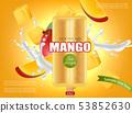 Mango ice cream splash Vector realistic. Fresh 53852630