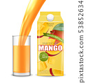 Mango juice Vector realistic. Product placement 53852634
