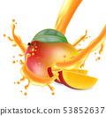 Mango fruit sliced with juice splash Vector 53852637