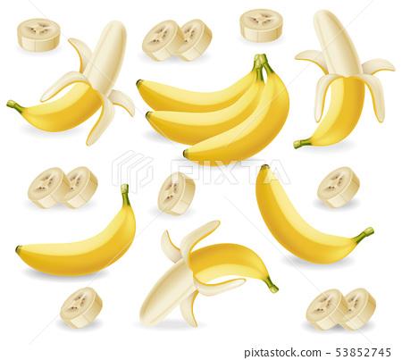 Banana fruits set Vector realistic poster 53852745
