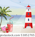 Summer seaside with Lighthouse Vector. Red tower 53852765