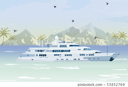 Travel boat Vector. Summer cruise journey poster 53852769