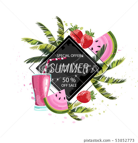 Summer tropic fruits and drinks Vector icon 53852773