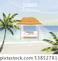 Beach lounge Vector. seaside background. summer 53852781