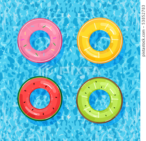 Colorful pool rings on water background Vector. 53852783