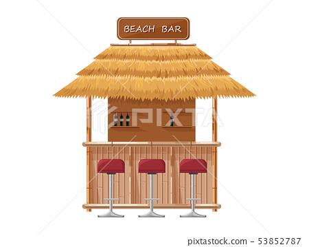 Beach bar Vector. Summer tropic seaside. Wooden 53852787