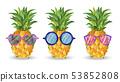 Pineapple pattern Vector. Cartoon style. Funny 53852808