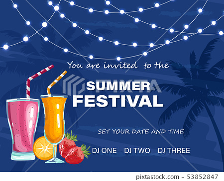 Summer festival poster Vector. Cocktails party. 53852847