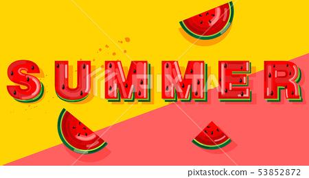 Summer watermelon banner text Vector. Abstract 53852872