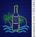 Beer bottle neon sign Vector. Summer icon tropic 53852892