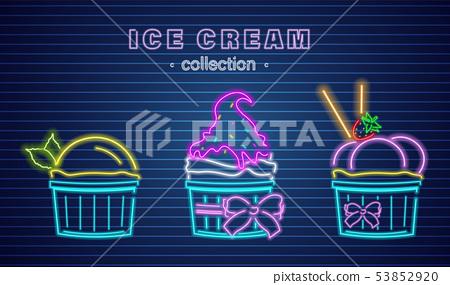 Ice cream cups neon Vector. Delicious dessert 53852920