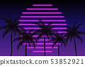 Tropic sunset california poster Vector. Colorful 53852921