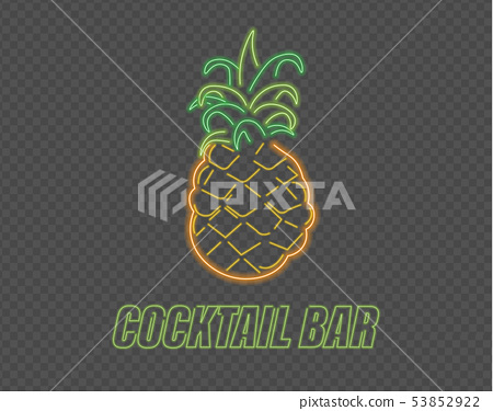 Neon pineapple cocktail sign Vector. Summer party 53852922