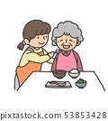 支持用餐的护理助手和祖母 53853428