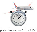 Airplane with stopwatch, fast booking 53853450