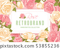 Floral Frame With Rose Flowers 53855236