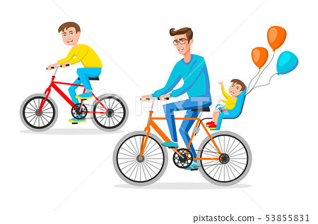 Biker family silhouette, father with two kids on 53855831