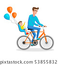 Man cycling with his boy. Kid sitting on bike safe 53855832