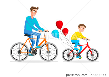 Active holidays. Father and son are riding bikes. 53855833