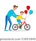 The father teaches his son to ride a bicycle. 53855840