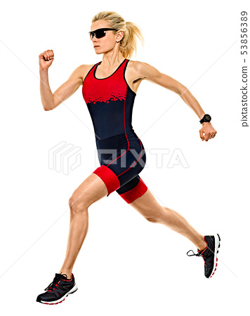 woman triathlon triathlete ironman runner running isolated white background 53856389