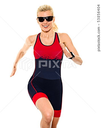 woman triathlon triathlete ironman runner running isolated white background 53856404
