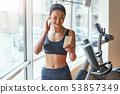 female, fitness, treadmill 53857349
