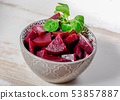 red beetroot cutting into pieces in a bowl 53857887