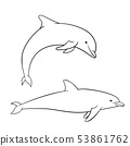 Coloring book for children, dolphin 53861762