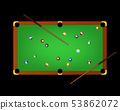 Realistic Detailed 3d Pool Billiard Green Table and Equipments on a Dark. Vector 53862072