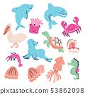 Cute set of hand drawn sea animals isolated 53862098