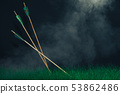 Three wooden arrows in the grass. Beautiful smog 53862486