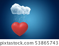 3d rendering of red valentine heart under raining cloud on blue gradient background with copy space. 53865743