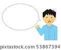 大版本,男性,指導,笑,憤怒,生氣,氣球,講話泡泡,(簡單的觸摸 53867394