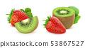 Strawberry and kiwi fruit isolated on white background 53867527