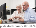 senior, couple, laptop 53868074