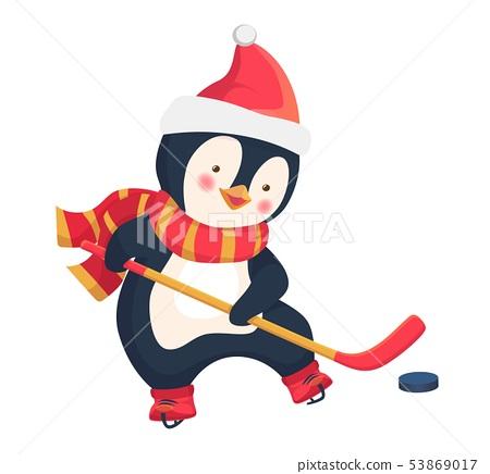 penguin play ice hockey in the winter 53869017