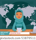 Arabic female news anchor on tv breaking news background, flat vector illustration. Female 53870511