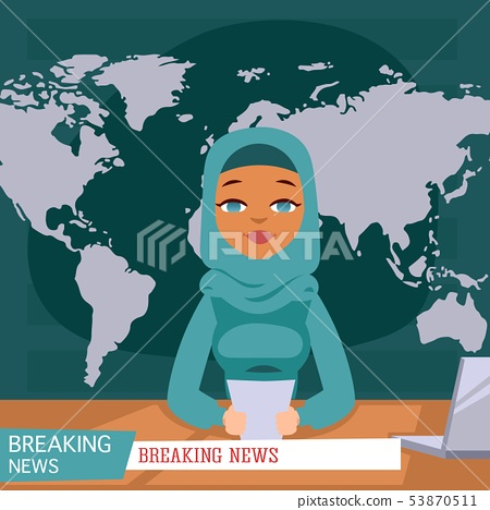 Arabic female news anchor on tv breaking news background, flat vector illustration. Female 53870511