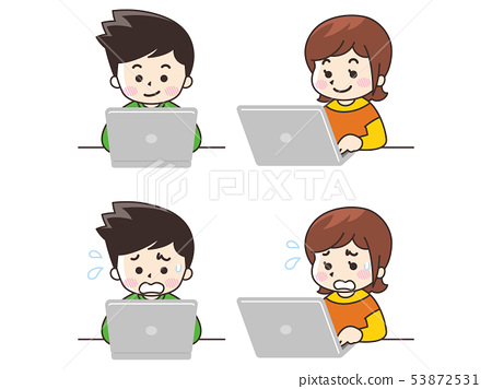 Young men and women using laptops 53872531