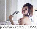 Portrait of happy girl taking shower 53873554