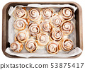 Top view of cinnamon rolls in baking dish 53875417