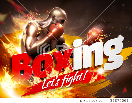 Strong boxer with flame effect 53876061