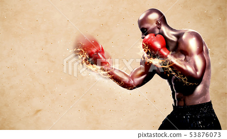 Strong boxer throwing flame hook 53876073